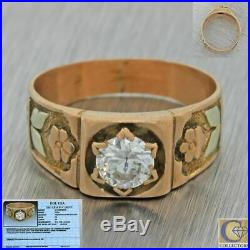 1880s Antique Victorian 14k Rose Gold. 50ct Diamond Engagement Band Ring EGL
