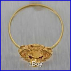 1890s Antique Victorian 14k Yellow Gold Ruby Diamond Lion Head Cocktail Ring