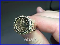 18K Gold Men's 22 MM NUGGET COIN RING with a 22 K 1/10 OZ AMERICAN EAGLE COIN