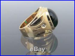18K Solid Yellow Gold Emerald Cabochon Heavy Men's Ring Size 10