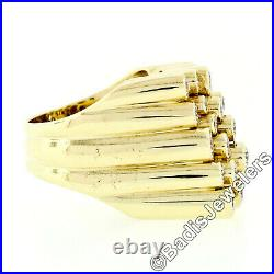 18K Yellow Gold 2.2ct Round Brilliant Cut Bezel Diamond Wide Staggered Band Ring