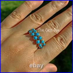18k Solid Yellow Gold Sleeping Beauty Turquoise Eternity Ring SIZE 8