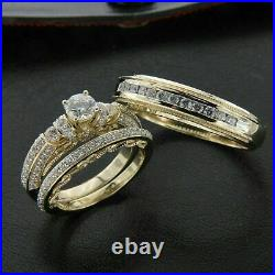 18k Yellow Gold Over Diamond Wedding His & Her Trio Set Bridal Engagement Rings