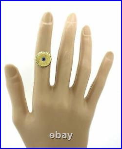 1920s Antique Art Deco 14k Solid Yellow Gold. 10ct Blue Sapphire Shield Ring