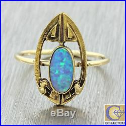 1920s Antique Art Deco Estate 14k Solid Yellow Gold Oval Opal Ring