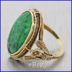 1930s Antique Art Deco 14k Yellow Gold Oval Shape Spanish Jade Cocktail Ring