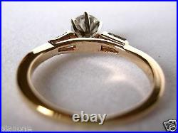 1.00 Natural Round Diamond Ring with Baguette Diamond Accents 14k Yellow Gold