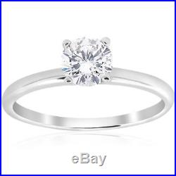 1.0 Ct Round Cut Solitaire Engagement Wedding Promise Ring Solid 14K White Gold