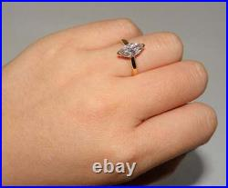 1.20Ct Marquise Cut VVS1 Diamond Solitaire Engagement Ring 14K Yellow Gold Over