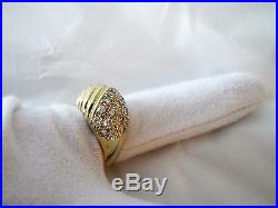 1.20 ct Dome Pave Diamond Ring 14k Yellow Gold Size 8