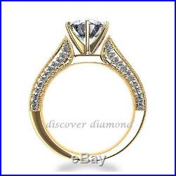 1.25 Ct Round Cut Diamond Solitaire Engagement Ring 14k Yellow Goldr