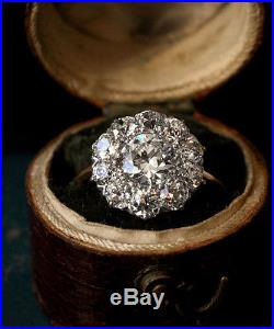1/2ct Round-Cut Diamond Cluster Engagement Ring In Real 14K Yellow Gold