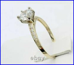 1.55 Ct 14K Yellow Gold Finish Round Engagement Wedding Propose Promise Her Ring