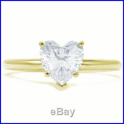 1.5 Ct Heart Cut Diamond Solitaire Engagement Promise Ring Solid 14K Yellow Gold