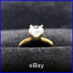 1.5 Ct Round Cut Solid 14K Yellow Gold Solitaire Engagement Wedding Ring