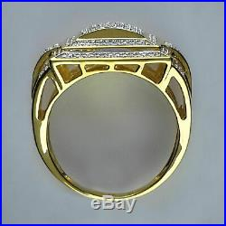 1.70 Ct Diamond Round Cut Band Engagement Pinky Ring Men's 14K Yellow Gold Over