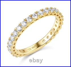 1.75 Ct Round 14k Yellow Gold Over Eternity Pavé Anniversary Wedding Band Ring