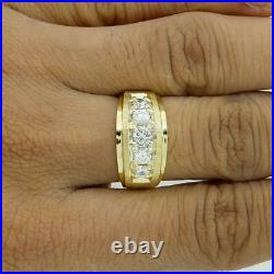 1.78 Ct Round Cut Diamond Five Stone Men's Engagement Ring 10K Yellow Gold Over