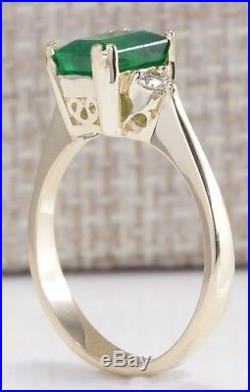 1.94ctw Natural Emerald And Diamond Ring 14k Solid Yellow Gold