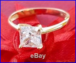 1 Ct Princess Cut Solitaire Engagement Promise Ring Solid 14K Yellow Gold 1CT