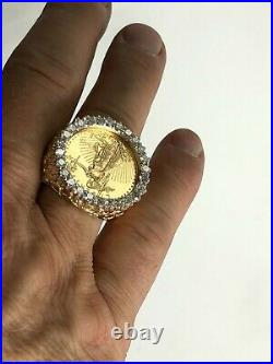 22K-14K FINE GOLD 1/4 OZ LADY LIBERTY COIN 1.8 tcw diamond in Heavy NUGGET Ring
