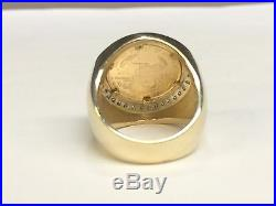 22K FINE GOLD 1/10 OZ US LIBERTY COIN. 36 TCW diamonds in Heavy 14k Gold Ring