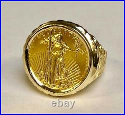 22K FINE GOLD 1/4oz US LIBERTY COIN IN 14 KT SOLID YELLOW GOLD MENS RING 25MM