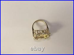 22 KT 1/10oz LADY LIBERTY COIN SET IN 14 KT SOLID YELLOW GOLD COIN RING