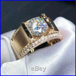 2Ct Diamond Solitaire Men's Engagement Band Pinky Ring Real 10K Yellow Gold