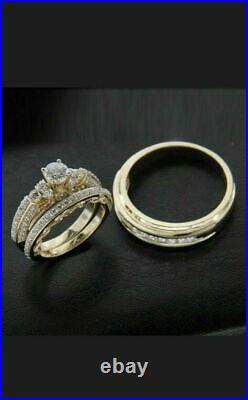 2Ct Diamond Wedding His/Her Trio Set Bridal Engagement Ring 14k Yellow Gold Over