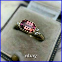 2Ct Emerald Cut Red Ruby Unique Turkish Engagement Ring 14K Yellow Gold Finish