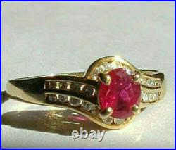 2Ct Oval Cut Pink Ruby Solitaire Pretty Engagement Ring 14K Yellow Gold Finish