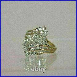 2Ct Round & Baguette Cut Diamond Cluster Engagement Ring 14k Yellow Gold Finish