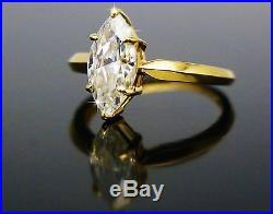 2.00 Ct Marquise Cut Solitaire Engagement Wedding Ring Solid 14K Yellow Gold
