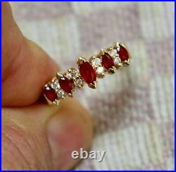 2.00 Ct Marquise Red Ruby Solid 14K Yellow Gold Over Five-Stone Engagement Ring