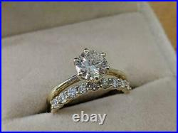 2.00 Ct Round Diamond Solitaire Engagement Wedding Ring Set 14K Yellow Gold Over