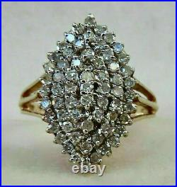 2.00 ct Round Cut Diamond Engagement Cluster Ring Solid 14K Yellow Gold Finish