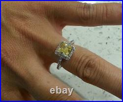 2.00tcw Fancy Yellow Emerald Brilliant Cut Engagement Ring 14k Solid White Gold