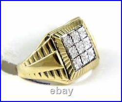2.10 Ct Fine Square Round Cut Cluster Diamond Men's Ring 14k Yellow Gold Over