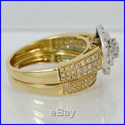 2.35 Ct Diamond 14K Yellow Gold Over Bridal Double Halo Engagement Ring Set