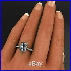 2.53ct Emerald Cut Solitaire Diamond Engagement Ring Solid 14K Yellow Gold