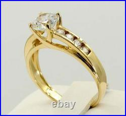 2.56 Ct Diamond Solitaire with Accents Engagement Ring In 14k Yellow Gold Over