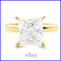 2.5 Ct. Princess Cut Diamond Ring Solid 14K Yellow Gold Solitaire Engagement