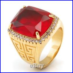 2.70Ct Red Cushion Cut Diamond 14K Yellow Gold Plated Iced out Engagement Ring
