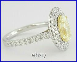 2.71 ct 14K 2-T Gold Fancy Yellow Diamond Double Halo Engagement Ring Rtl $15.5k