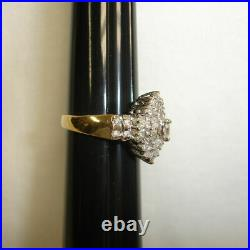 2.74Ct Marquise Cut Diamond 14K Yellow Gold Over Cluster Engagement Wedding Ring