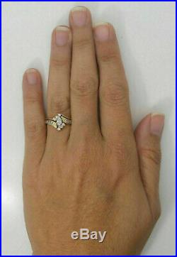 2.76Ct Marquise Cut Diamond Engagement Wedding Band Ring Solid 14K Yellow Gold