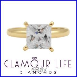 2 Carat Princess Cut Ring Solid 14K Yellow Gold Solitaire Engagement Promise