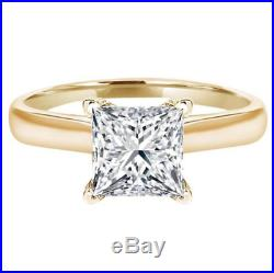 2 Ct Princess Cut Solitaire Diamond Engagement Ring in Solid 14K Yellow Gold