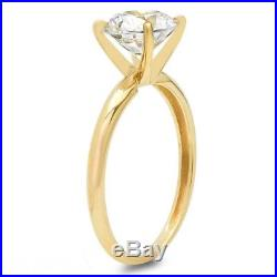 2 Ct Round Cut Solitaire Engagement Promise Ring Real Solid 14K Yellow Gold